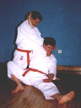 Estrangulación por la solapa, con control del brazo (Kata ha Jime)